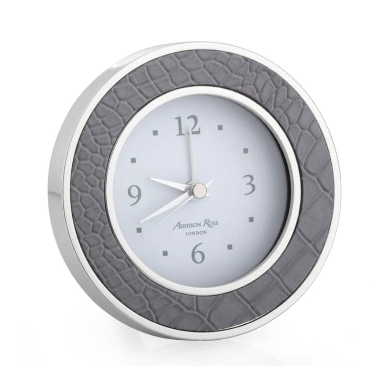 Addison Ross - Dove Croc Silver Alarm Clock