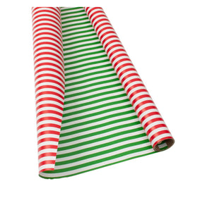 "Caspari - Club Stripe Reversible Gift Wrapping Paper in Red & Green - 30"" x 8' Roll"