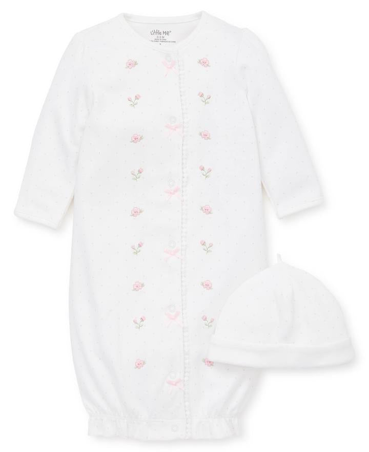 Little Me - Blossom Garden - Sleeper Gown & Hat Set