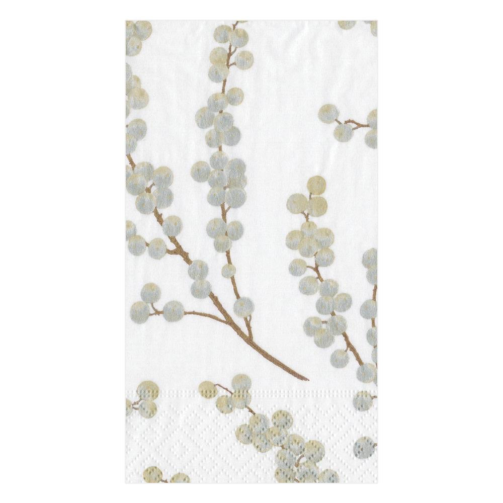 Caspari - Berry Branches Paper Guest Towel Napkins in White & Silver - 15 Per Package