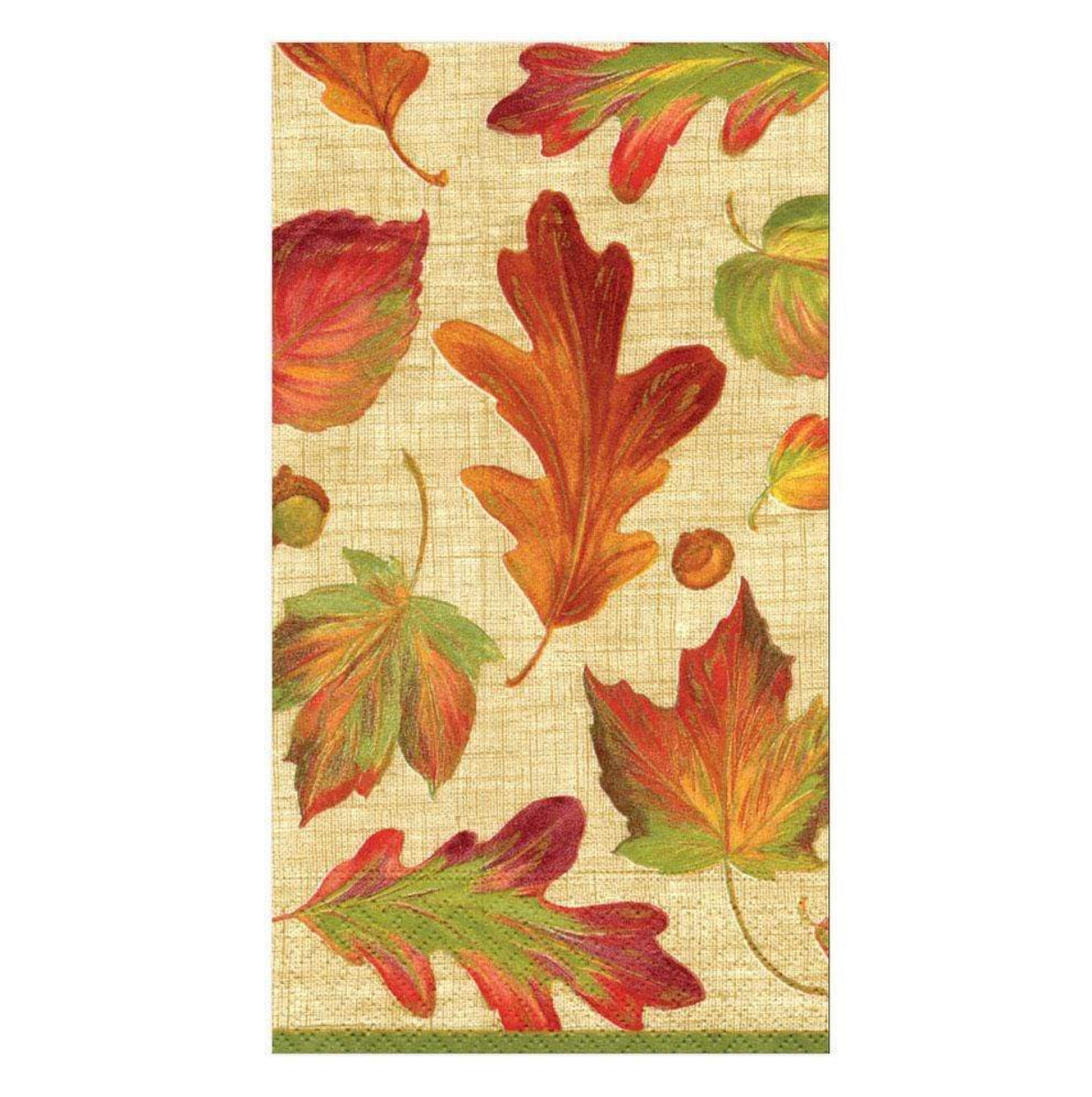 Caspari - Linen Leaves Paper Guest Towel Napkins in Natural - 15 Per Package
