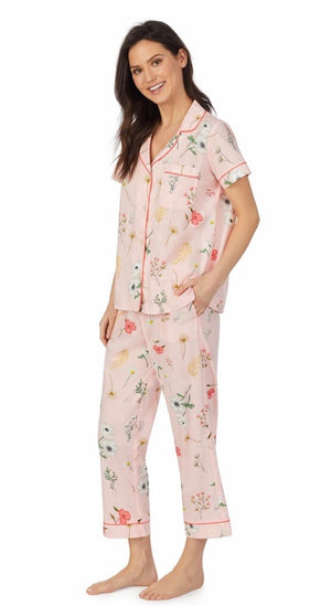 BedHead Pajamas - Flower Study Short Sleeve Classic Cropped Woven Sateen PJ Set