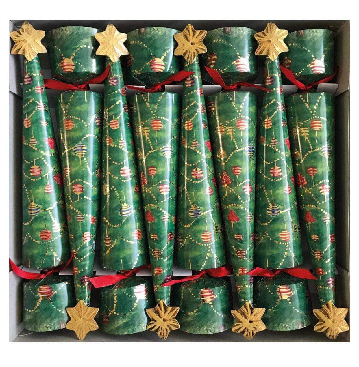 Caspari - Glittering Tree Cone-Shaped Celebration Christmas Crackers - 8 Per Box