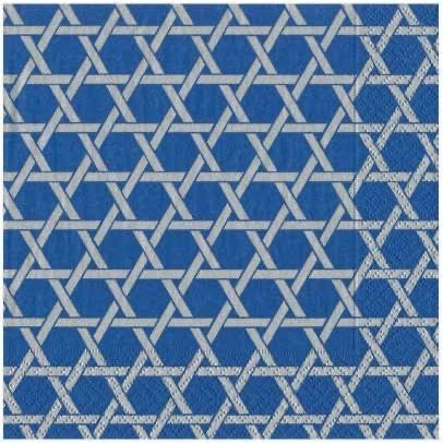 Caspari - Star Lattice Paper Napkins in Blue & Silver - 20 Per Package