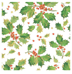 "Caspari - Gilded Holly Gift Wrapping Paper in White - 30"" x 8' Roll"