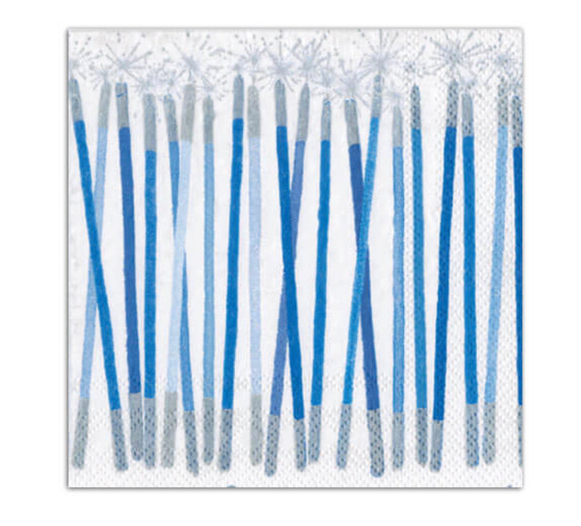 Caspari- Hanukkah Candles Paper Cocktail Napkins in Blue - 20 Per Package