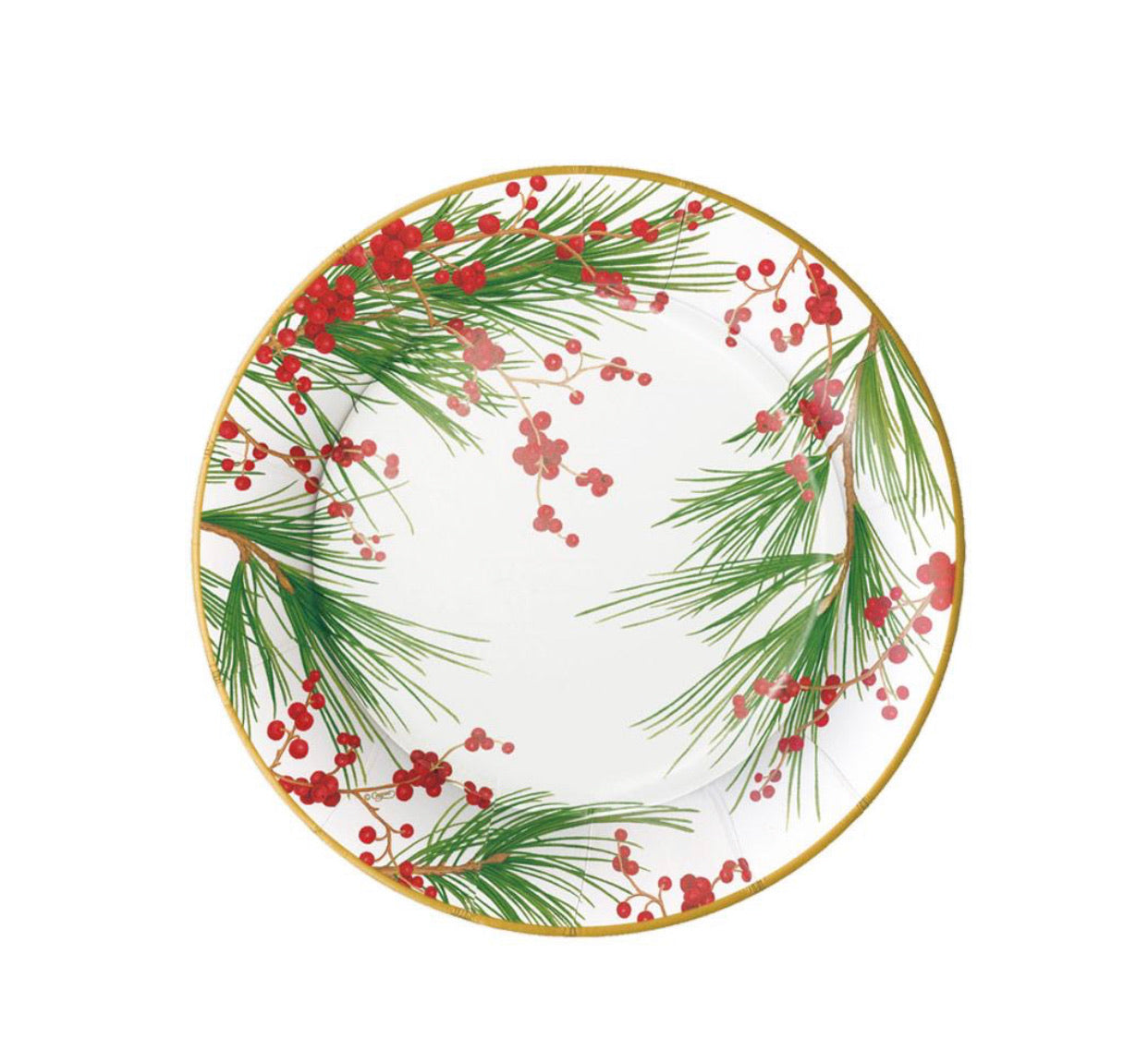 Caspari - Berries and Pine Paper Salad & Dessert Plates - 8 Per Package