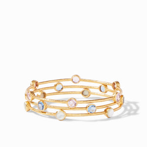 Julie Vos - Milano Bangle Gold Opaque Chalcedony Blue -Medium