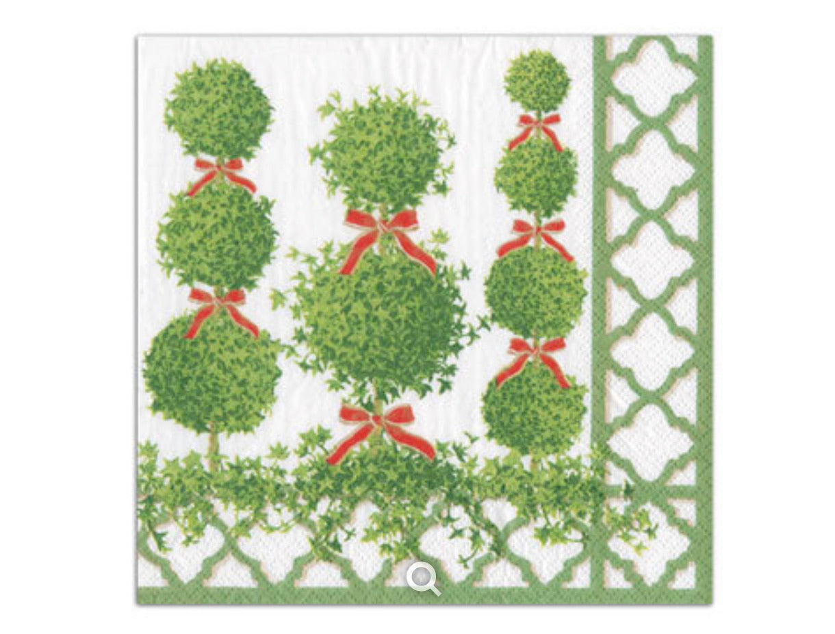 Caspari - Topiaries Paper Luncheon Napkins in Green Border - 20 Per Package