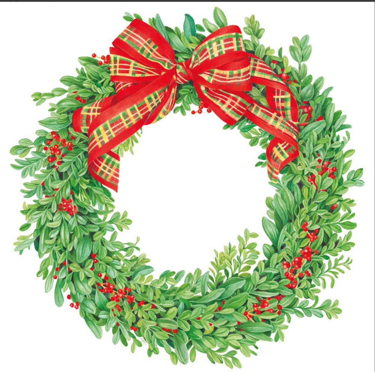 Caspari - Boxwood and Berries Wreath Die-Cut Placemat - 1 Per Package