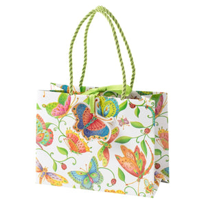 Caspari- Parvaneh's Garden Small Gift Bag in Ivory - 1 Each