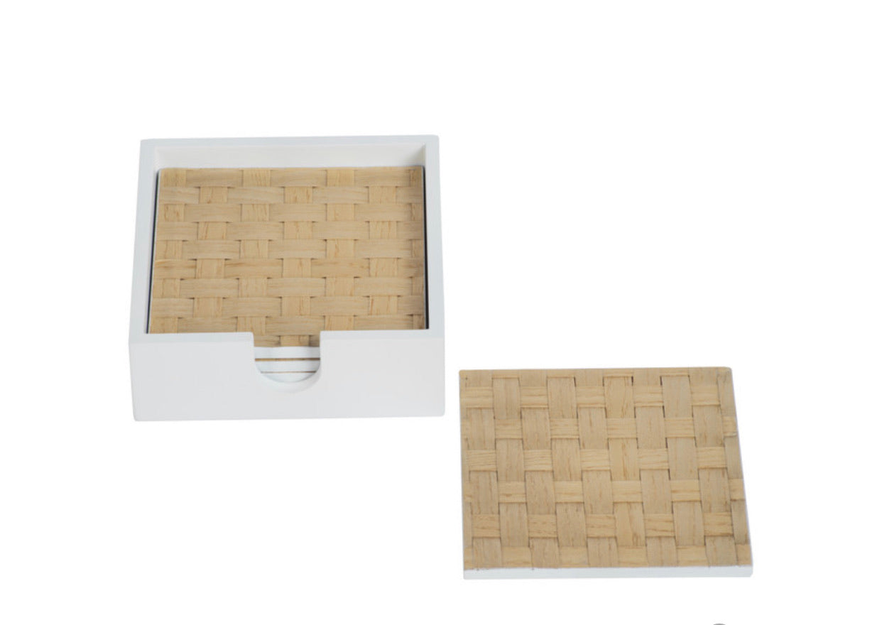 Zodax - Woven Ash White Coaster Set With Holder, Square - Set of 4