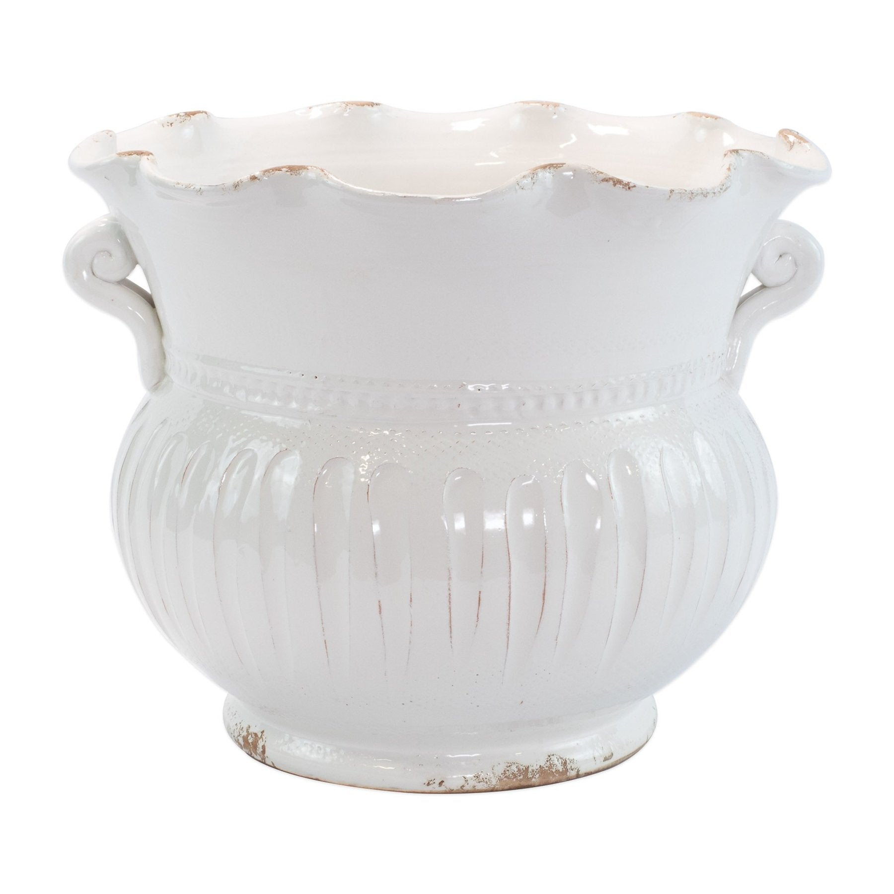 Vietri - Rustic Garden White Large Scallop Planter