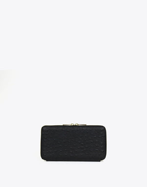 Neely & Chloe - No. 48 The Zip Wallet Ostrich - Black