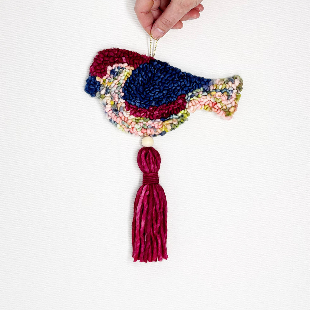 Red and blue bird wall charm, wool