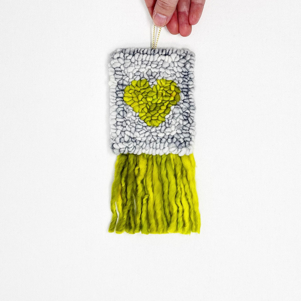 Mini Heart Tapestry in grey and chartreuse