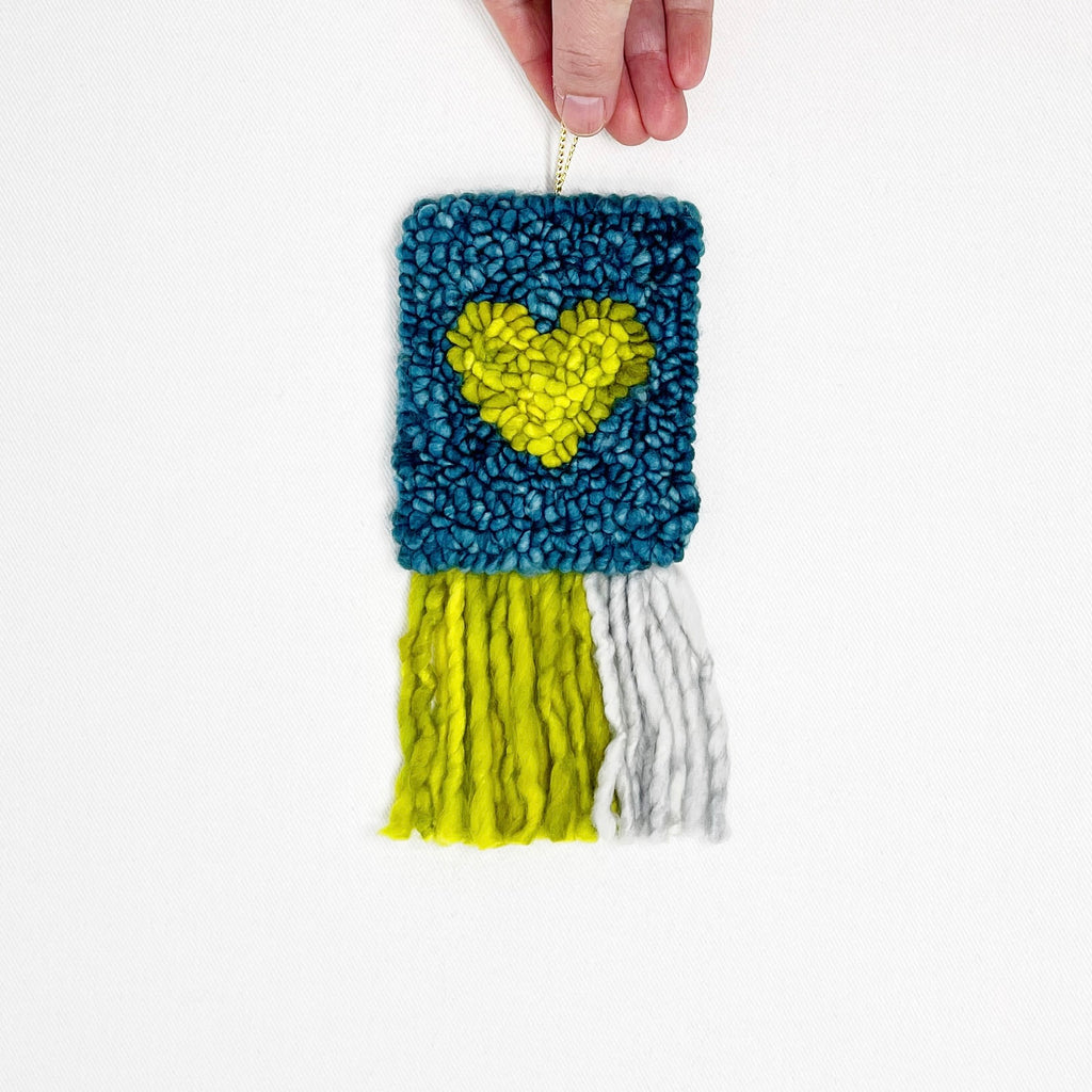 mini heart tapestry in green, teal and grey