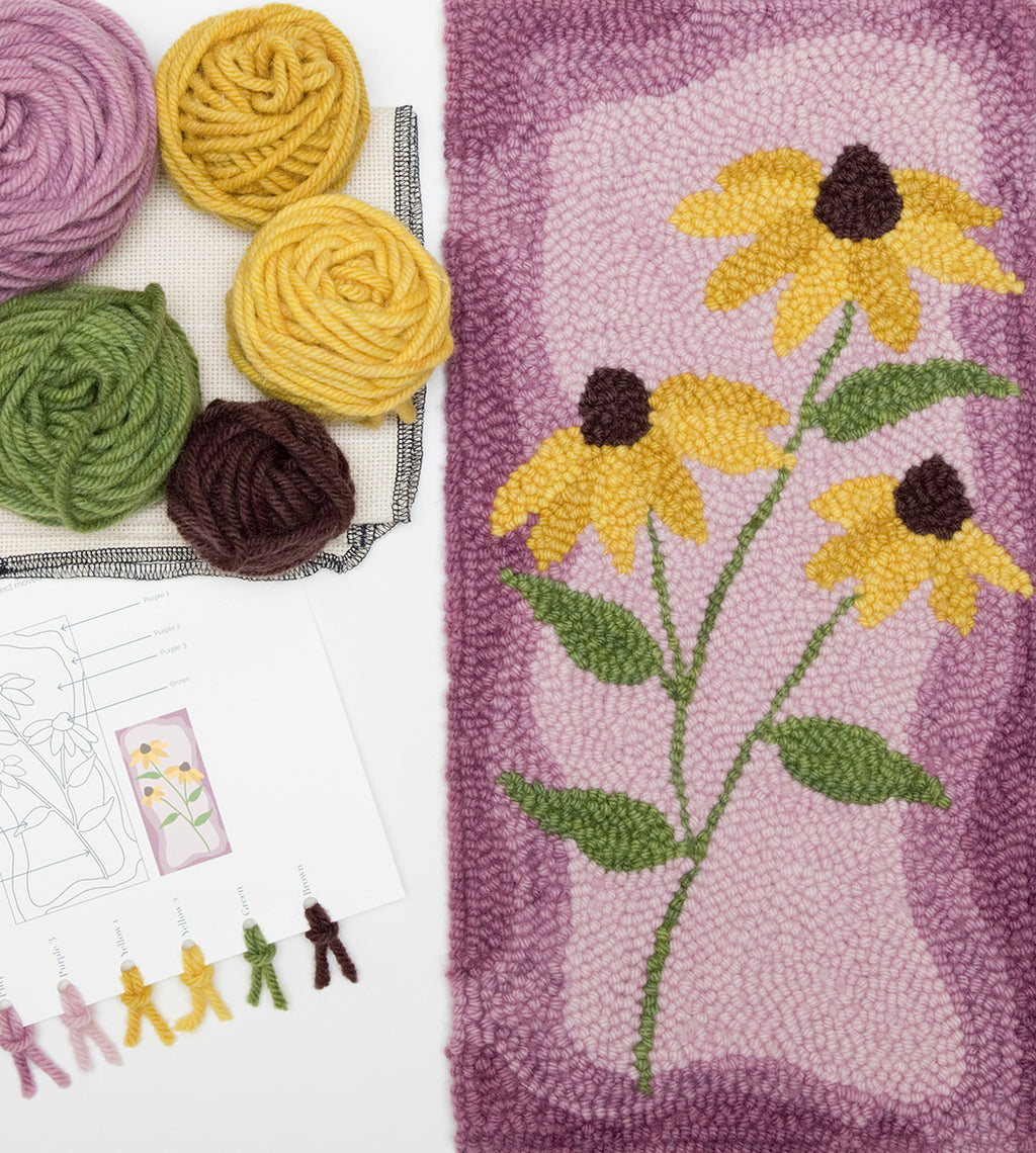 brown-eyed susan wildflower punch needle kit