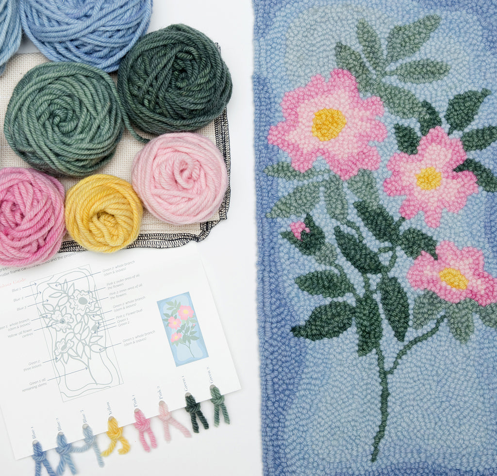 wild rose wildflower punch needle kit