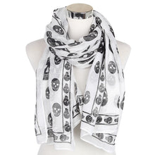 Load image into Gallery viewer, Black White Skull Scarf