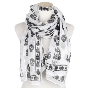 Black White Skull Scarf