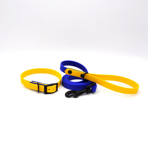 "Load image into Gallery viewer, Collare + Guinzaglio 16mm Tg ""S"" Giallo / Blu"
