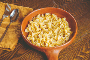 Cacio e Pepe at home paired with fresh campanelle. Orso delivers fresh pasta and sauces nationwide.