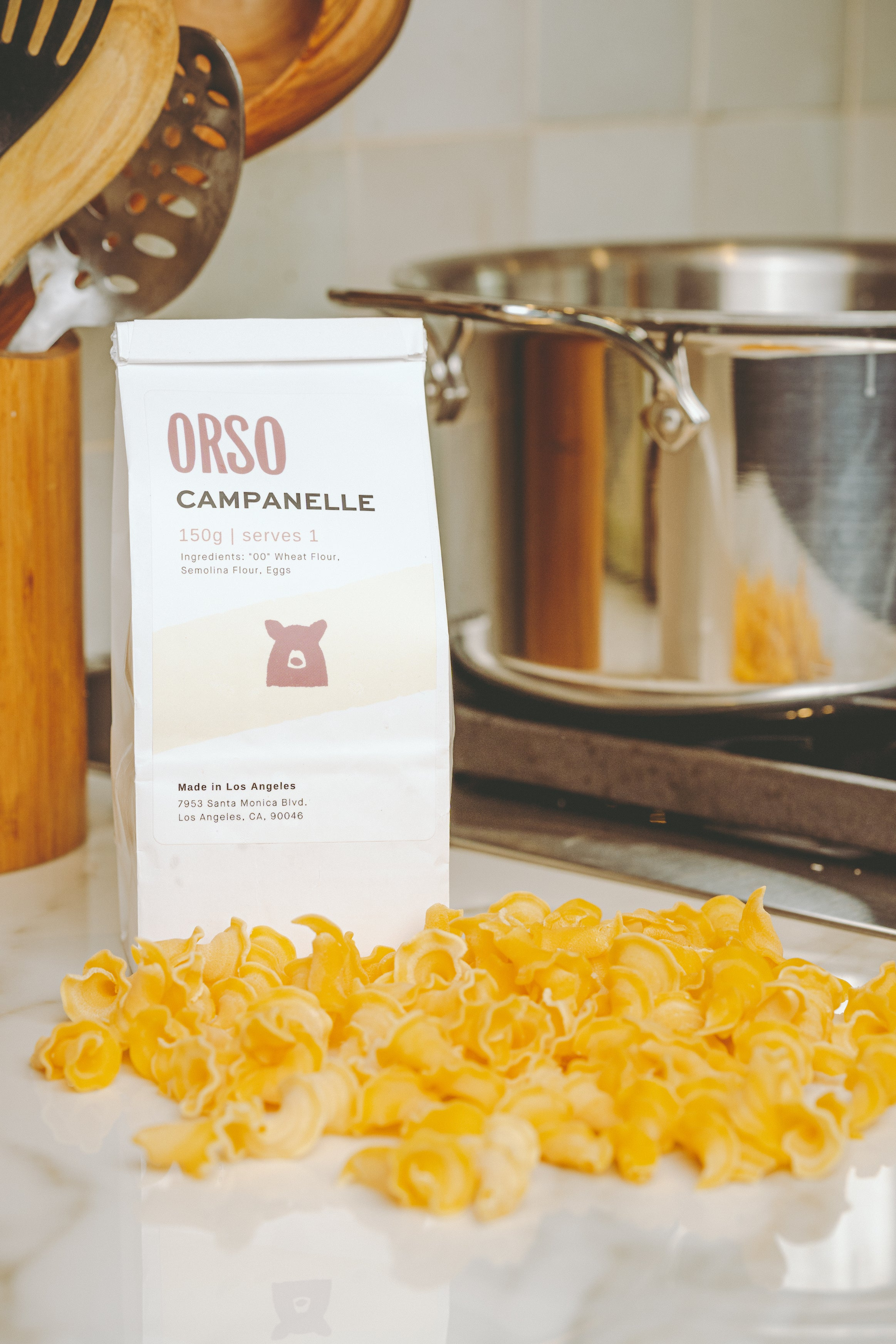 traditional ragu bolognese. Fresh campanelle. Orso delivers classic fresh pasta and sauce nationwide.