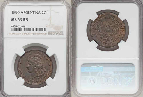 1890 Bronze Coin Argentina Two Centavos Capped Liberty Head Toned MS 63 BN