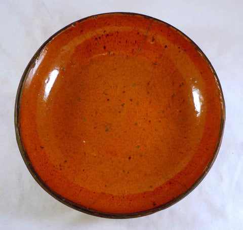 Antique Manganese Glazed Redware Deep Pie Plate Bowl Southeastern Pennsylvania