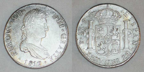 1817PJ Large Silver Coin Bolivia 8 Reales Mint Mark PTS Ferdinand VII King Of Spain Nicely Toned Extremely Fine or Better
