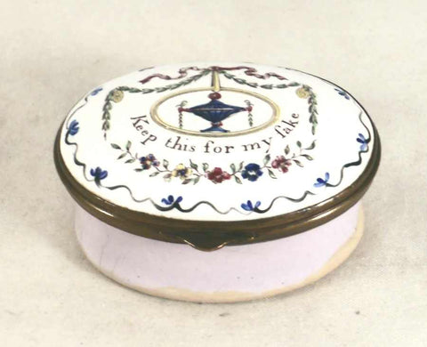 "Antique Battersea Enameled Colorful Motto Patch Box Staffordshire England ""Keep this for my sake"""