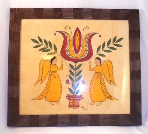 Contemporary Framed Folk Art Hand Painted On Velvet Pennsylvania Dutch Style Theorem Giant Tulip and Two Angels By Bill Rank