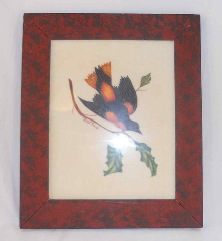 Bill Rank Framed Folk Art Hand Painted PA Dutch Theorem Blue & Orange Bird