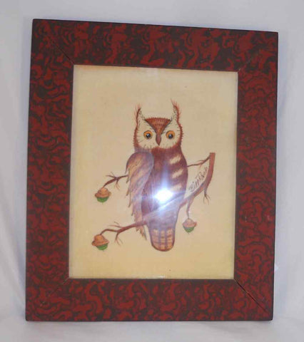Bill Rank Framed Folk Art Hand Painted PA Dutch Theorem Brown Owl & Acorns
