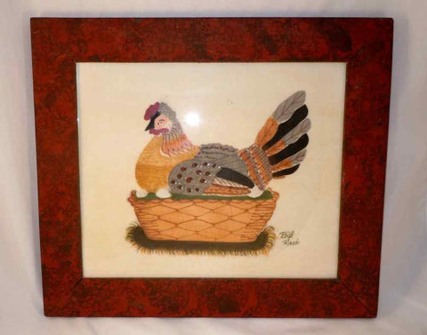 Nice Bill Rank Framed Folk Art Hand Painted Theorem Hen On The Nest with Eggs