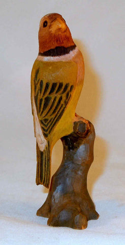 1947 Hand Carved and Painted Signed Wooden Bird Figure on Tree Stump Kyoto Japan