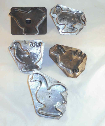 Lot of 5 Vintage Bird Shaped Pennsylvania Flat Back Tin Cookie Cutters