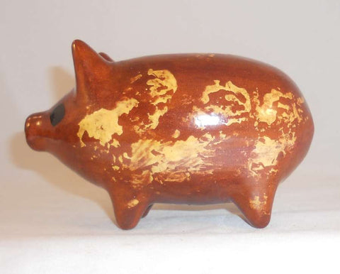 1987 Glazed Redware Penny Bank Pig Standing on All Four by Lester Breininger