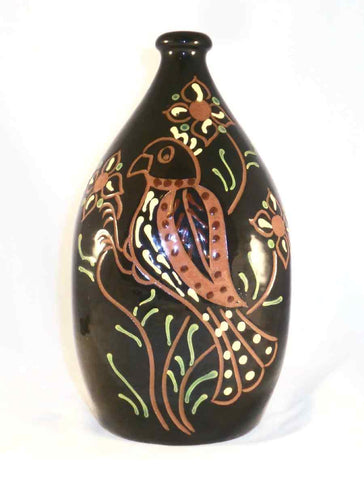 1997 Glazed Redware Sgraffito Decorated Bottle or Flask Distelfink and Tulips Zieber and Muckey Breininger Pottery
