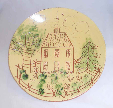 "1982 Redware Glazed Sgraffito Decorated Round 10 3/8"" Plate Country House By Lester Breininger"
