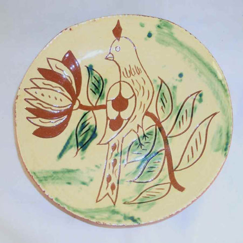 "1994 Redware Glazed Sgraffito Decorated Round 7"" Plate Distelfink Bird Perched on Tulip By Lester Breininger"