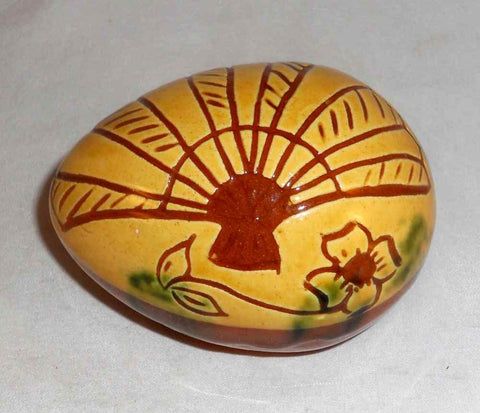 1993 Decorative Redware Egg Glazed Yellow and Brown Open Fan and Flower Sgraffito Design by Lester Breininger