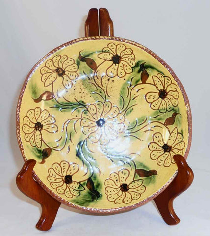 "1975 Redware Glazed Round ~8"" Deep Pie Plate Sgraffito Floral Design By Lester Breininger"
