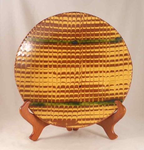 1986 Redware Glazed Slip Decorated Large Plate Brown Yellow and Green By Lester Breininger