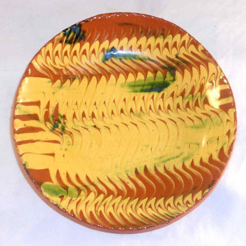 "2000 Redware Glazed Slip Decorated Round 7"" Pie Plate Yellow on Brown with Green Highlights By Lester Breininger"