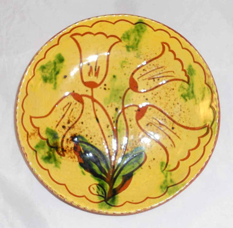 "1980 Breininger Redware 7"" Yellow Plate Sgraffito Bell-Shaped Flowers Decoration"