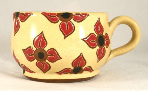 2009 Redware Glazed Sgraffito Decorated Large Soup Mug Floral Design on Yellow Background By Lester Breininger
