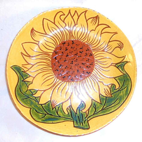 "1995 Redware Glazed Sgraffito Decorated 7"" Pie Plate Large Sunflower By Lester Breininger"