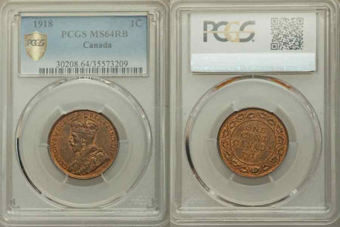 1918 Bronze Coin Canada One Cent King George V of Great Britain PCGS MS64 RB